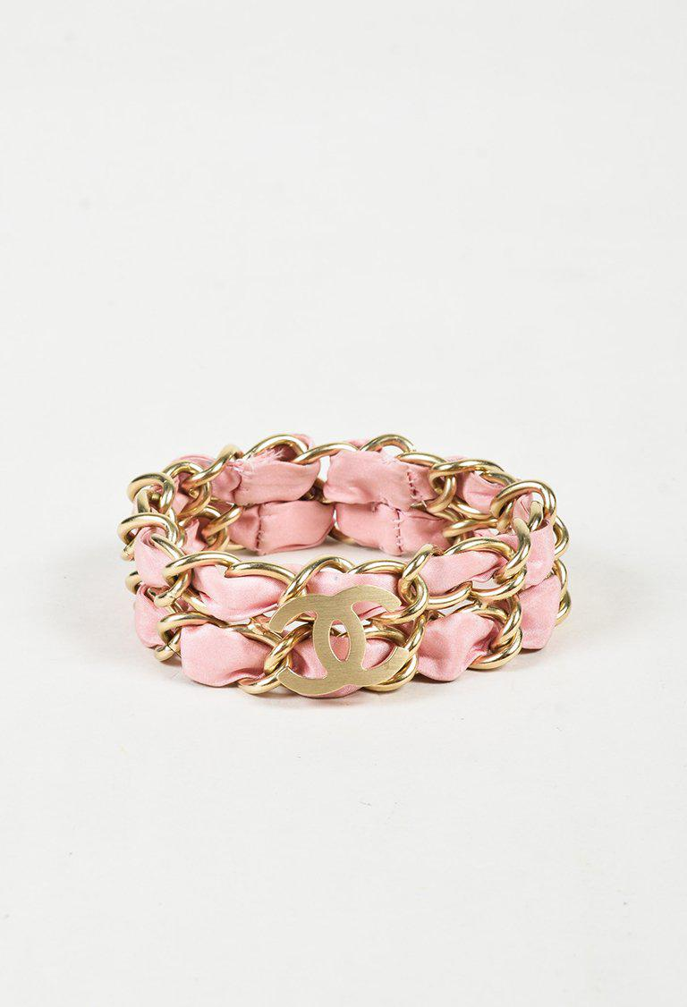 4e7eeeb74a53 Chanel Cruise 2009 Pink & Gold Tone Satin & Chain 'cc' Bracelet in ...