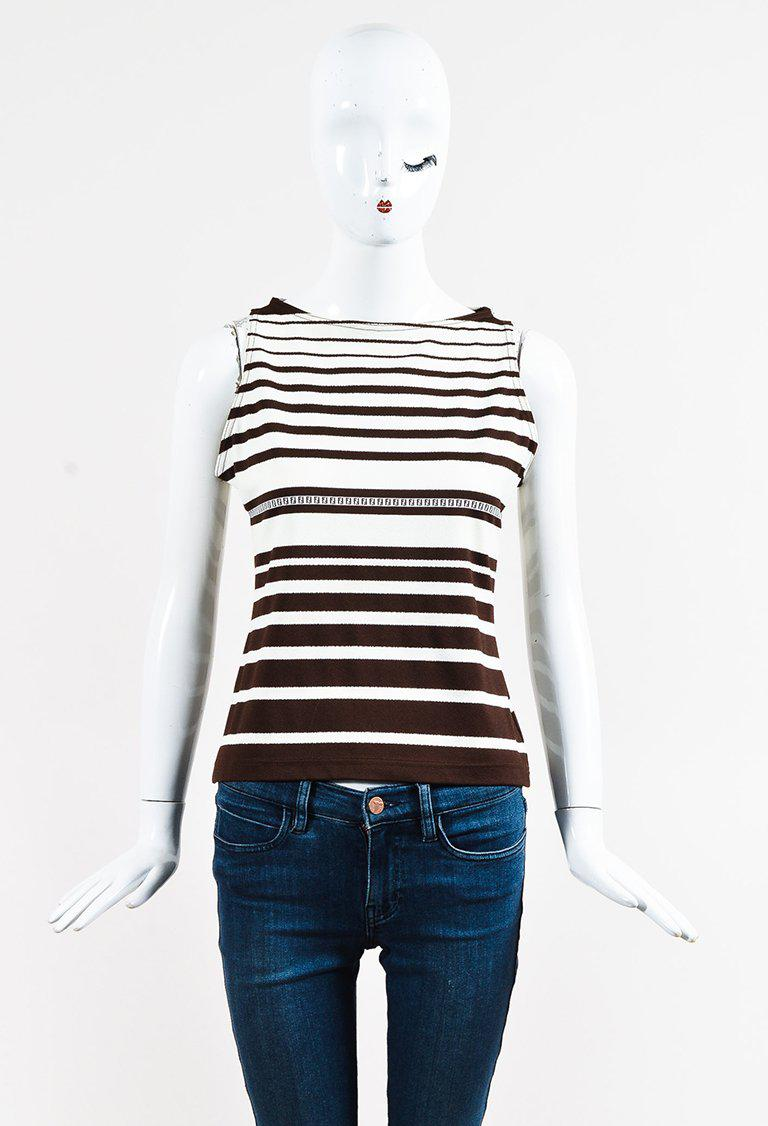 Lyst - Fendi Brown White Crepe Striped Sleeveless Top 1835552e341