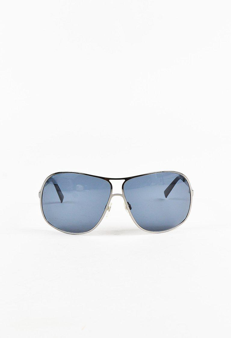 Lyst - Chanel Blue Silver Tone Frame Oversized Aviator Sunglasses in ...