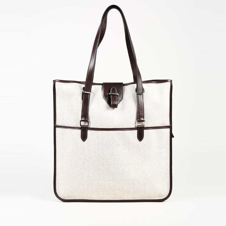 Lyst - Hermès Toile Canvas Leather Tote Bag in Natural 20dd5dc1ae90b