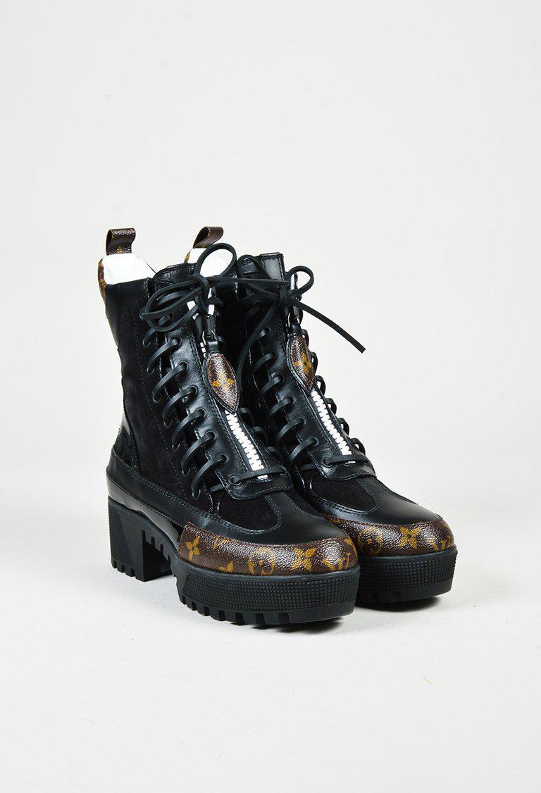 Louis Vuitton Black Leather Brown Monogram Platform Desert Boots