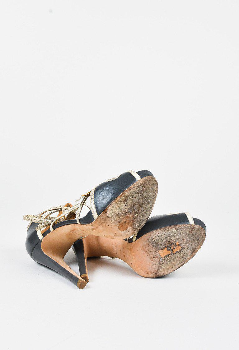 285a0608543b Lyst - Hermès Grey Leather Cream Snakeskin Trim Strappy High Heel ...
