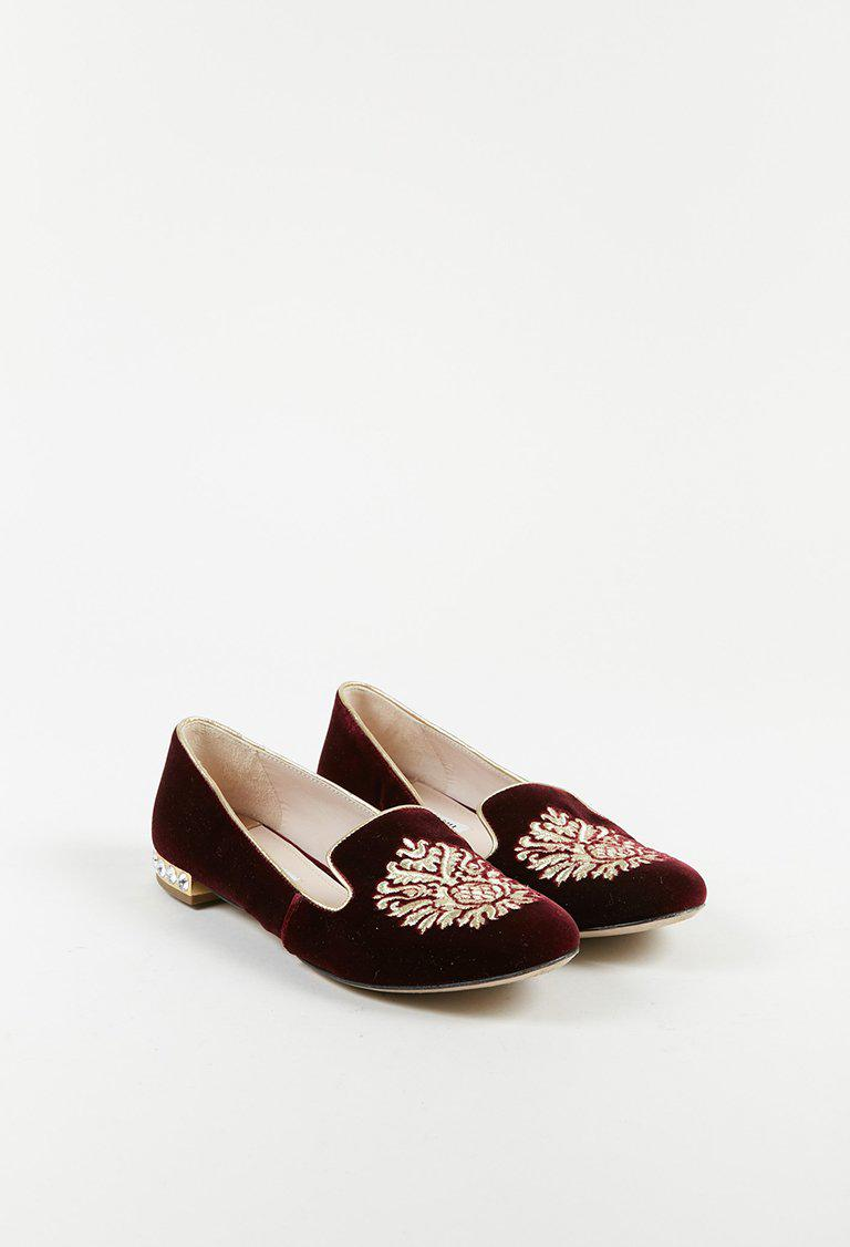 39826c7f2131 Lyst - Miu Miu Red Velvet Gold Embroidered Crystal Embellished Low ...