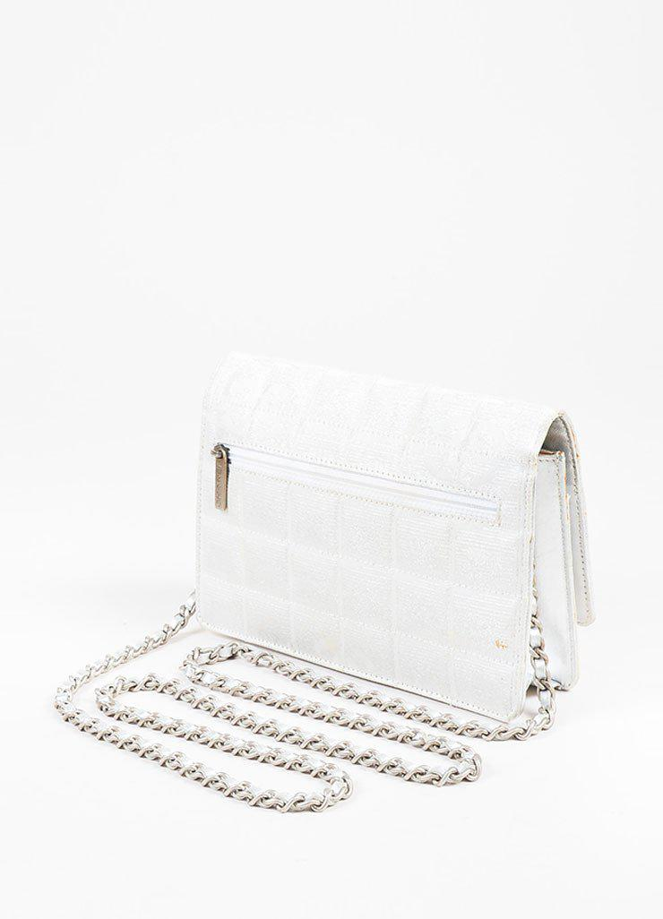 29de81988c33 Lyst - Chanel Metallic Silver Quilted Canvas Leather Trim