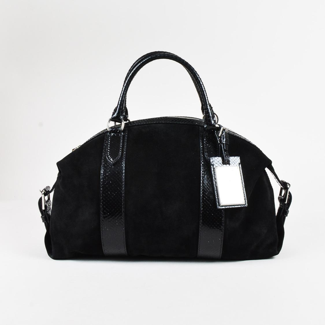 5a258b739b Lyst - Ralph Lauren Black Suede Genuine Python Trim Boston Satchel ...