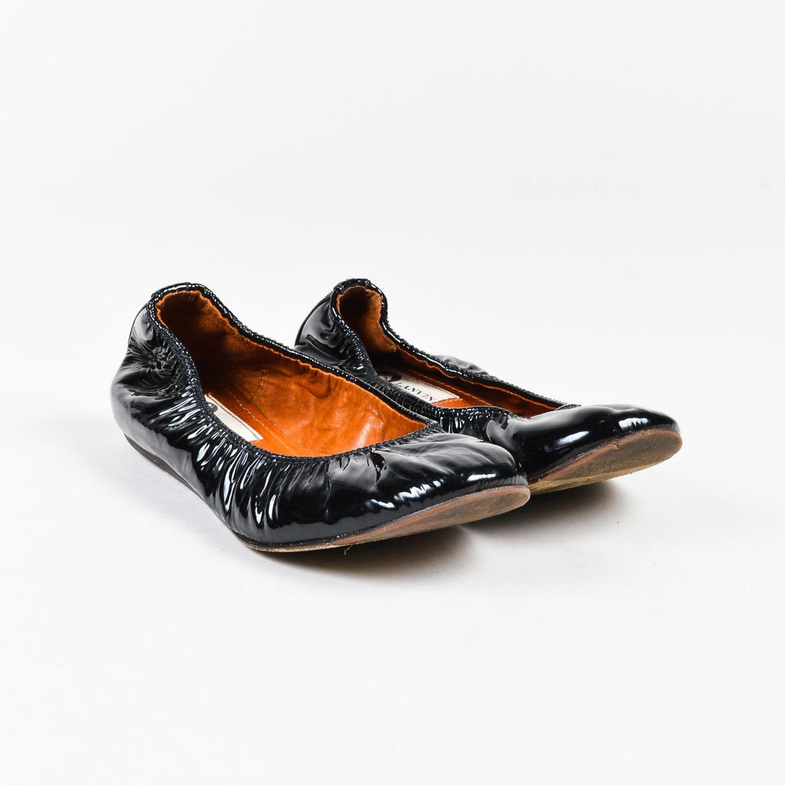 4b207aa2c96c97 Lanvin - Black Patent Leather Ruched Ballet Flats - Lyst. View fullscreen