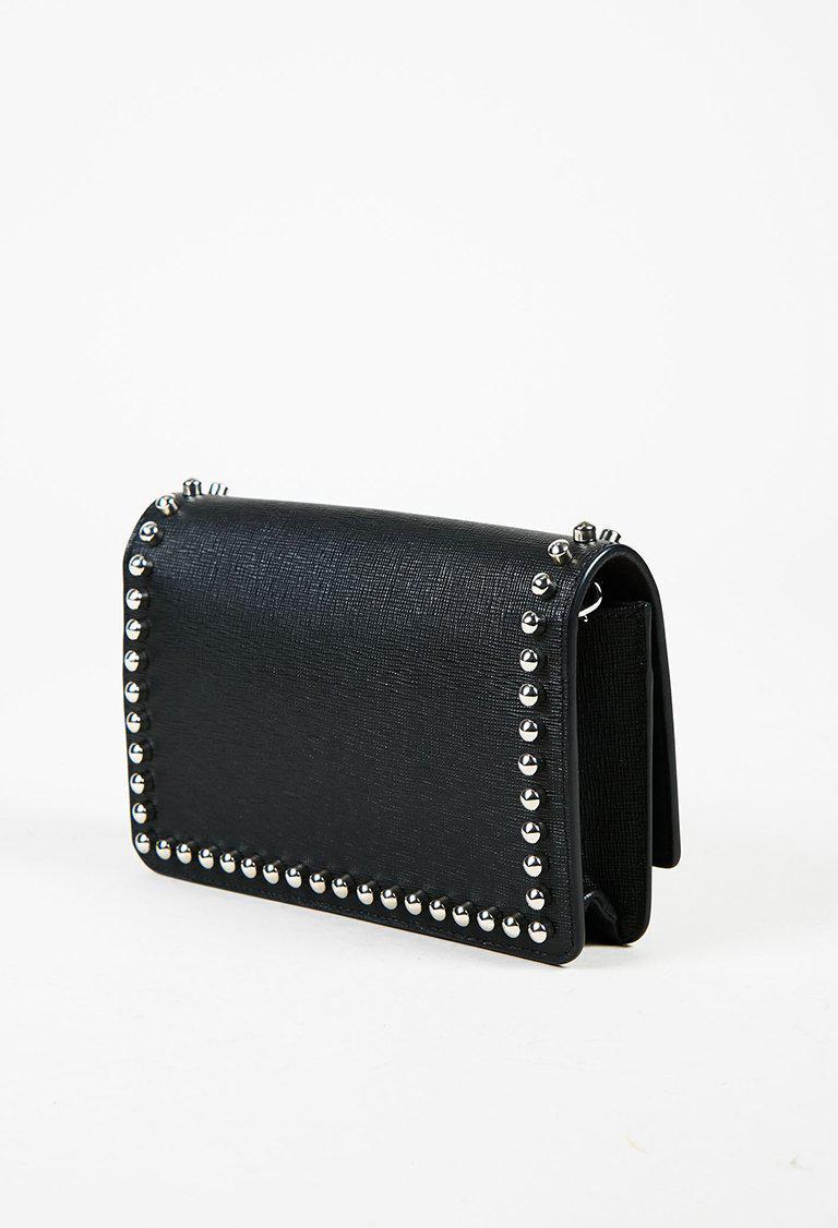 5a45930044 Lyst - Fendi Black Multicolor Saffiano Leather   Mink Fur