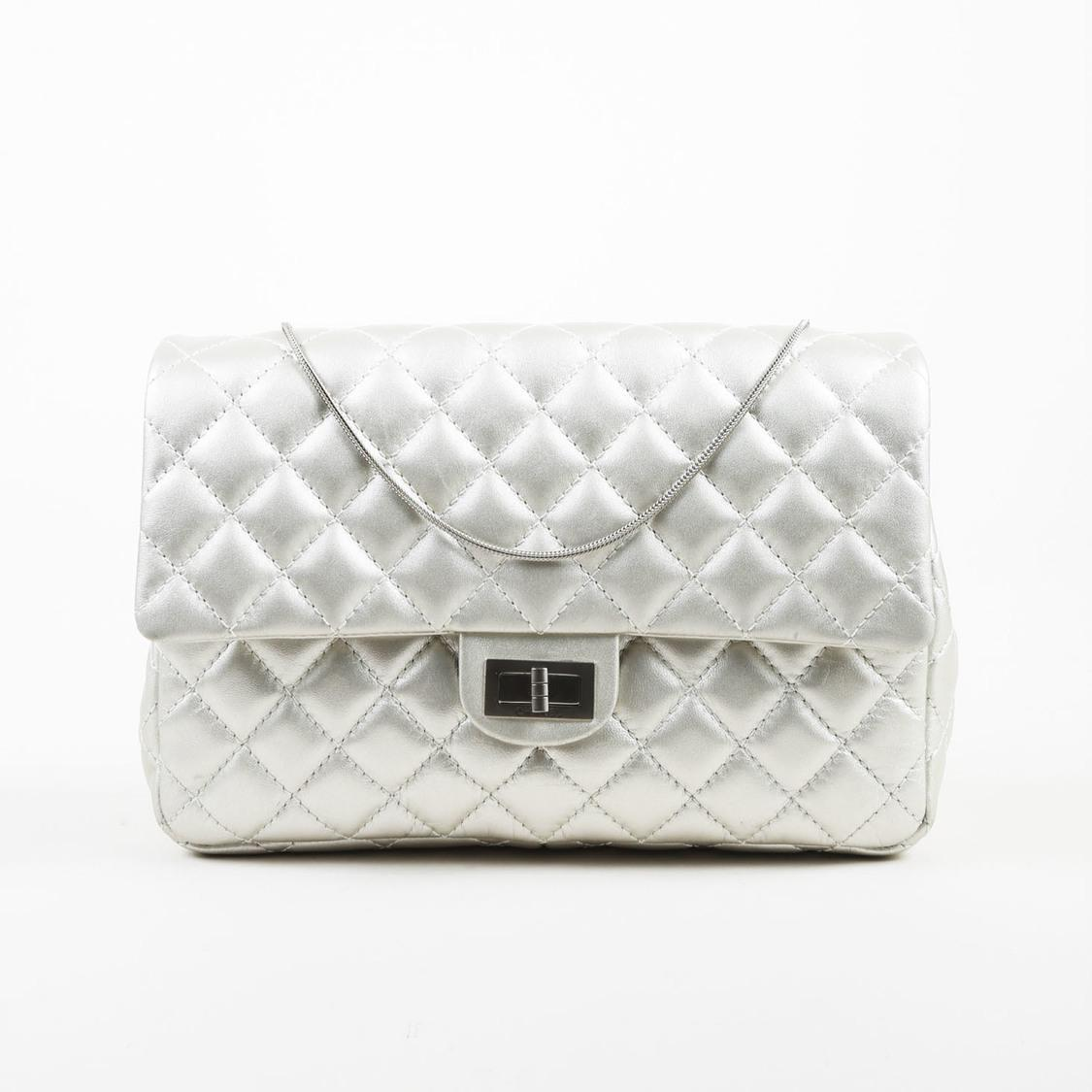 9d21e8b3b1b04b Lyst - Chanel Silver Quilted Calfskin Leather