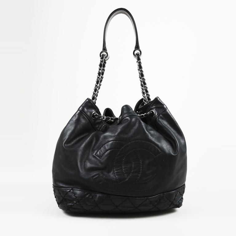 c4e576680913 Lyst - Chanel Black Quilted Lambskin Leather Silver Tone