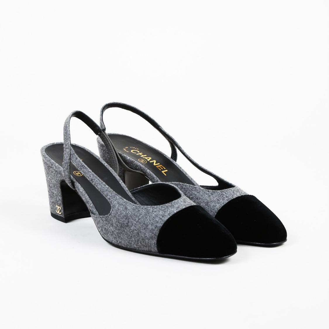 687a4148e3d3 Chanel Gray Wool Black Velvet Cap Toe Pumps in Black - Lyst