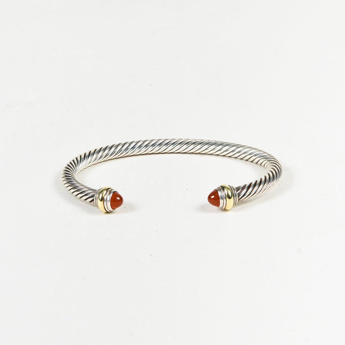 David Yurman Cable Classics sterling silver & 14kt yellow gold accented cuff bracelet - Metallic cJ9GLC