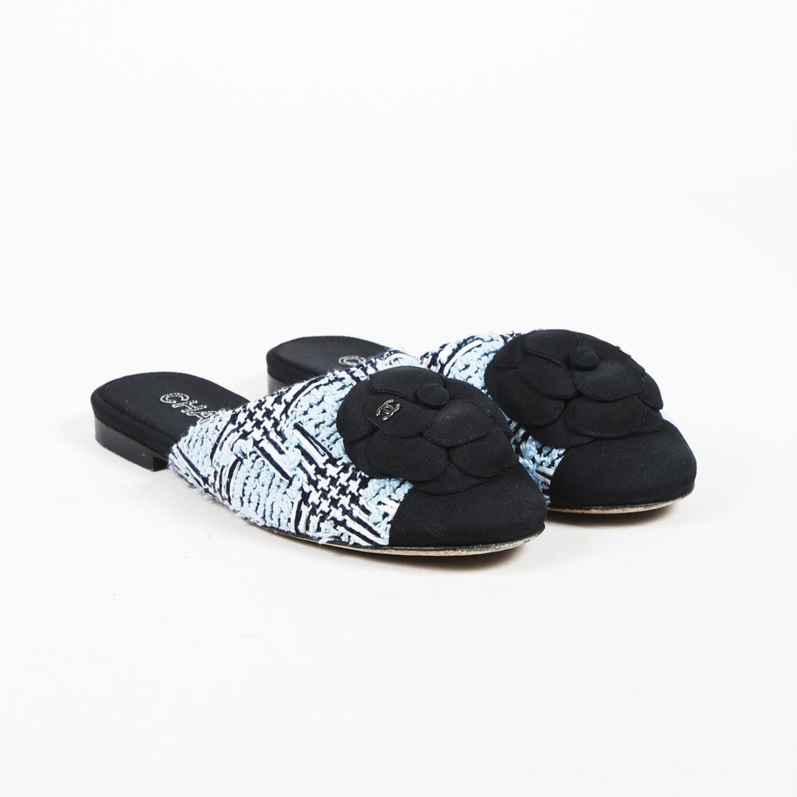 ae1a1b54a5 Chanel Blue & Black Tweed Camellia Cap Toe Mules in Blue - Lyst