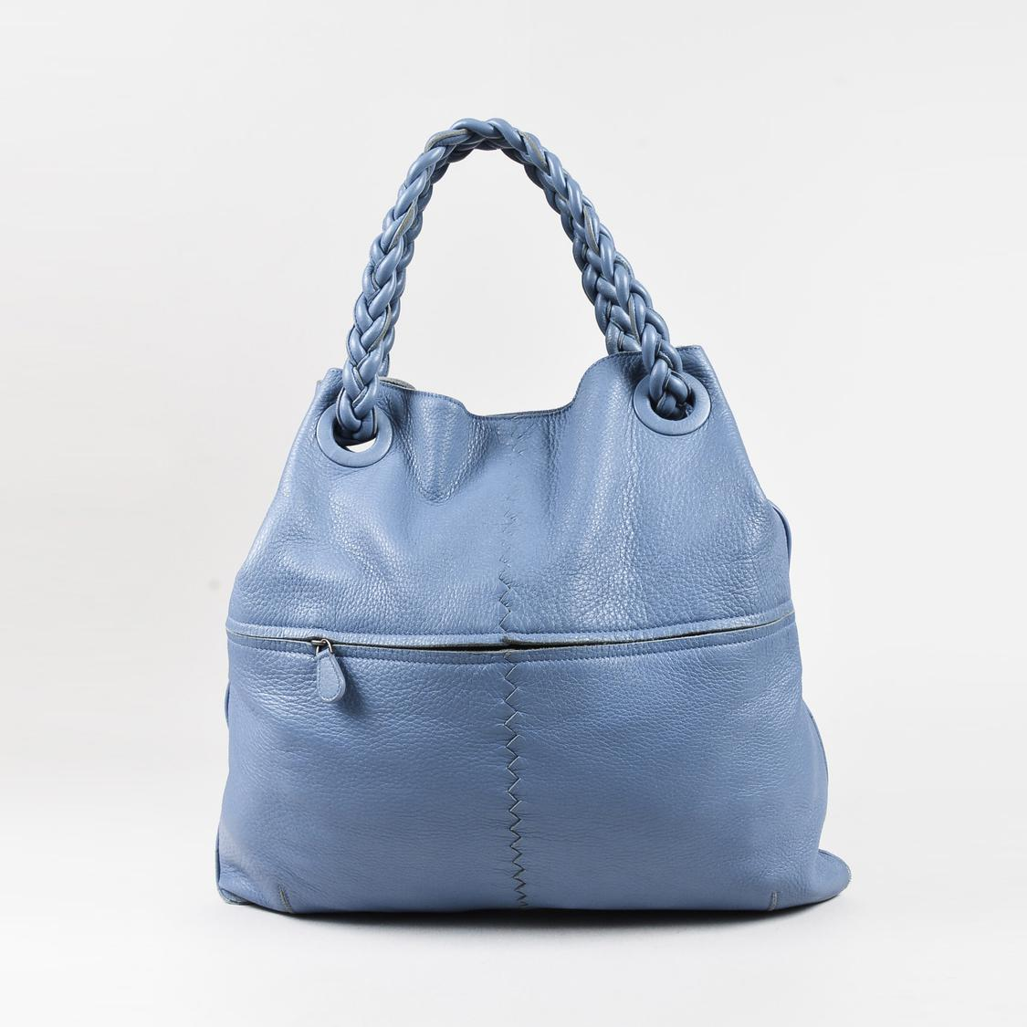 Bottega Veneta. Women s Light Blue Braided Handle Oversized Leather Tote 852b418eb2