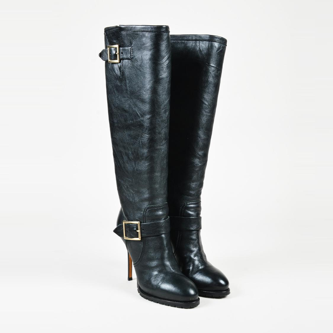 b2c4152c8aa Lyst - Jimmy Choo Black Leather Buckled Knee High Boots in Black