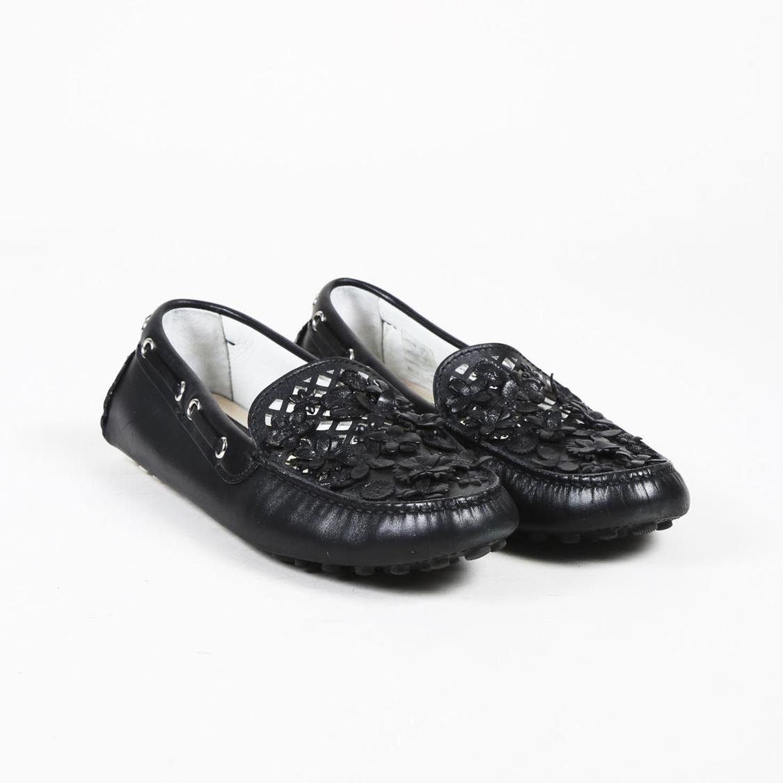 f28ffb3e197 Dior Black Leather Floral Applique Driving Loafers in Black - Lyst