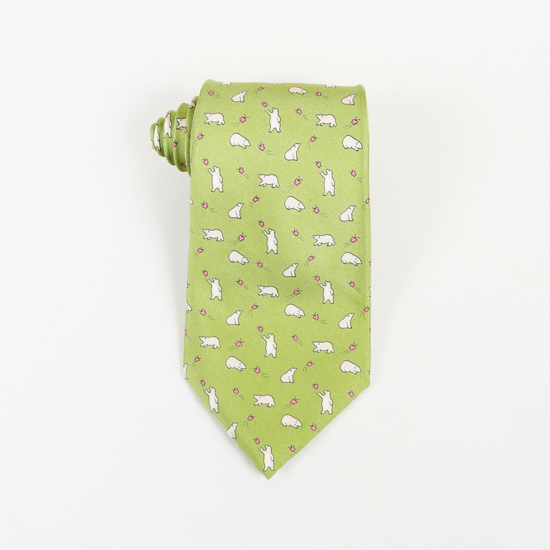 688aff983ea0 Hermès Bear Printed Silk Tie Men's in Green for Men - Lyst