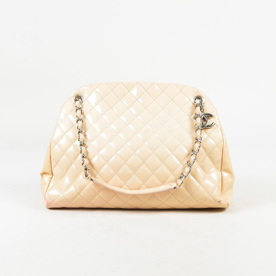 4f145afc82a3 Lyst - Chanel Cream Patent Leather Quilted Chain Handle Large