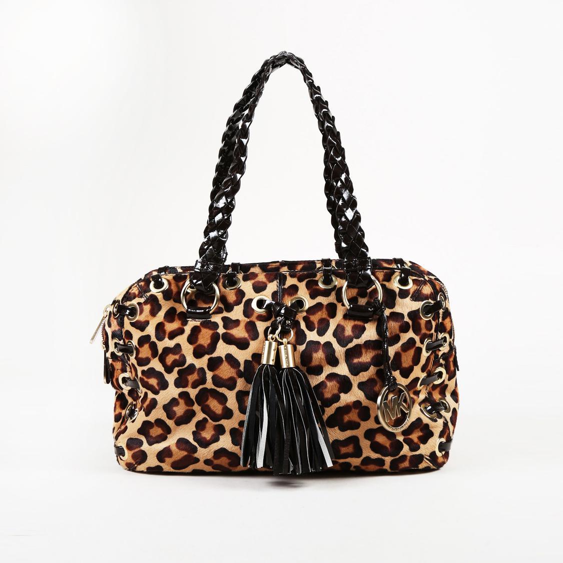 4f7d15b836c3 Michael Kors Animal Print Calf Hair Shoulder Bag in Brown - Lyst