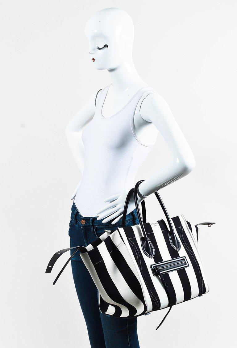 Lyst - Céline Black White Striped Canvas   Leather