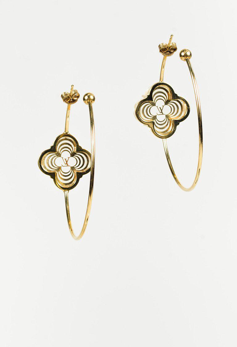 6da481c05 Louis Vuitton Gold Tone Resin 'lv' Quatrefoil