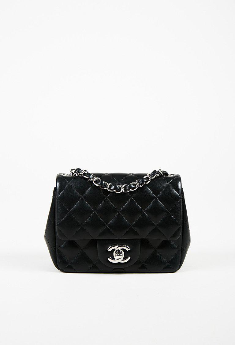 63833c3c9b7b Chanel Cruise 2016 Black Lambskin Quilted  cc  Mini Classic Flap Bag ...