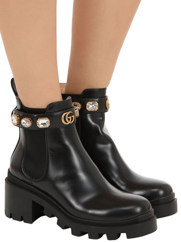 63b34216e3c Gucci embellished leather boots in black save lyst jpg 600x800 Ankle shoe  boots gucci