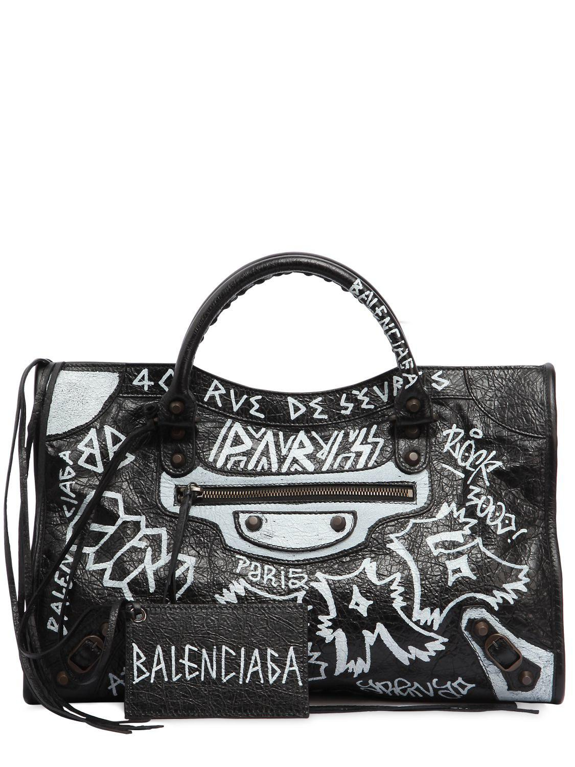 e9aac27dce Lyst - Balenciaga Classic City Graffiti Leather Bag in Black