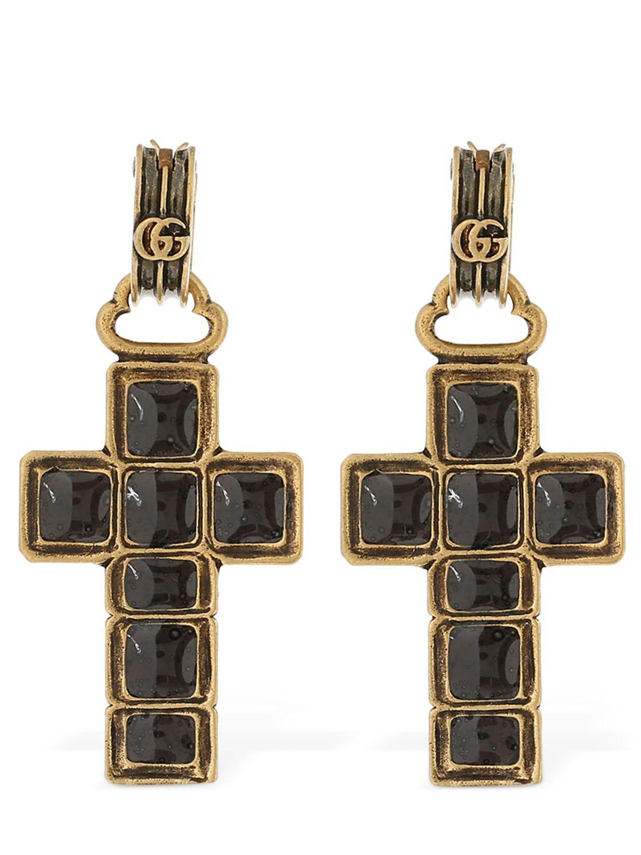 7c8de483fa8 Gucci Enameled Cross Earrings in Metallic - Lyst