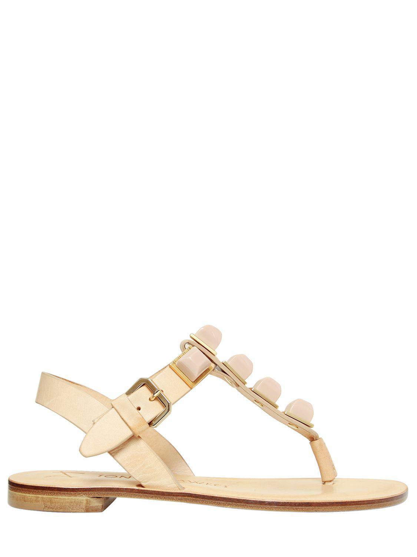d2faaca2d58c Lyst - Tonya Hawkes 10mm Gaia Resin Stones Leather Sandals in Natural