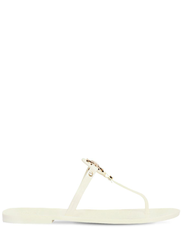 f6d1f184f8962a Tory Burch 10mm Mini Miller Jelly Flip Flops in White - Lyst