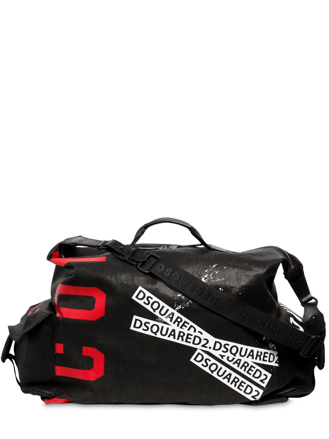 8381932f32 Lyst - DSquared² Icon Printed Waxed Denim Duffle Bag in Black for Men