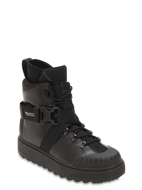39317ba0c5e Lyst - Puma Select Ren Leather Sneaker Combat Boots in Black for Men
