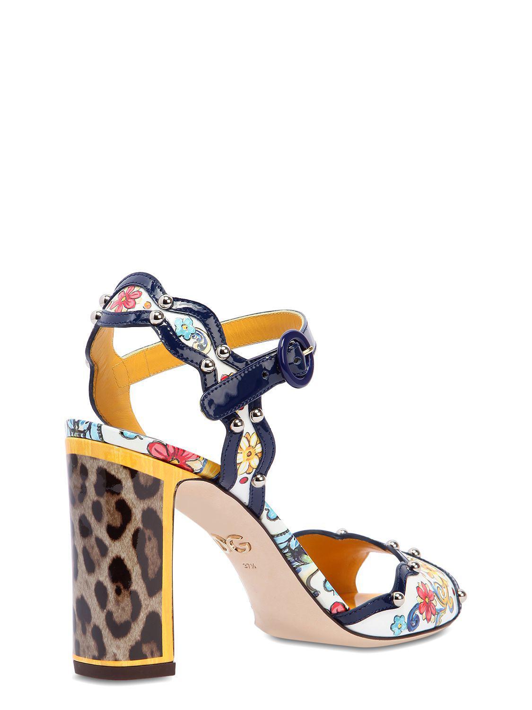 Dolce & Gabbana 90MM MAIOLICA PATENT LEATHER SANDALS 6M4ir
