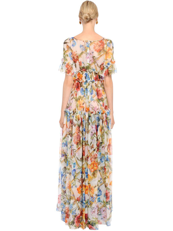 25e9efc0cf1 Dolce   Gabbana Bamboo Floral Printed Silk Chiffon Dress - Lyst