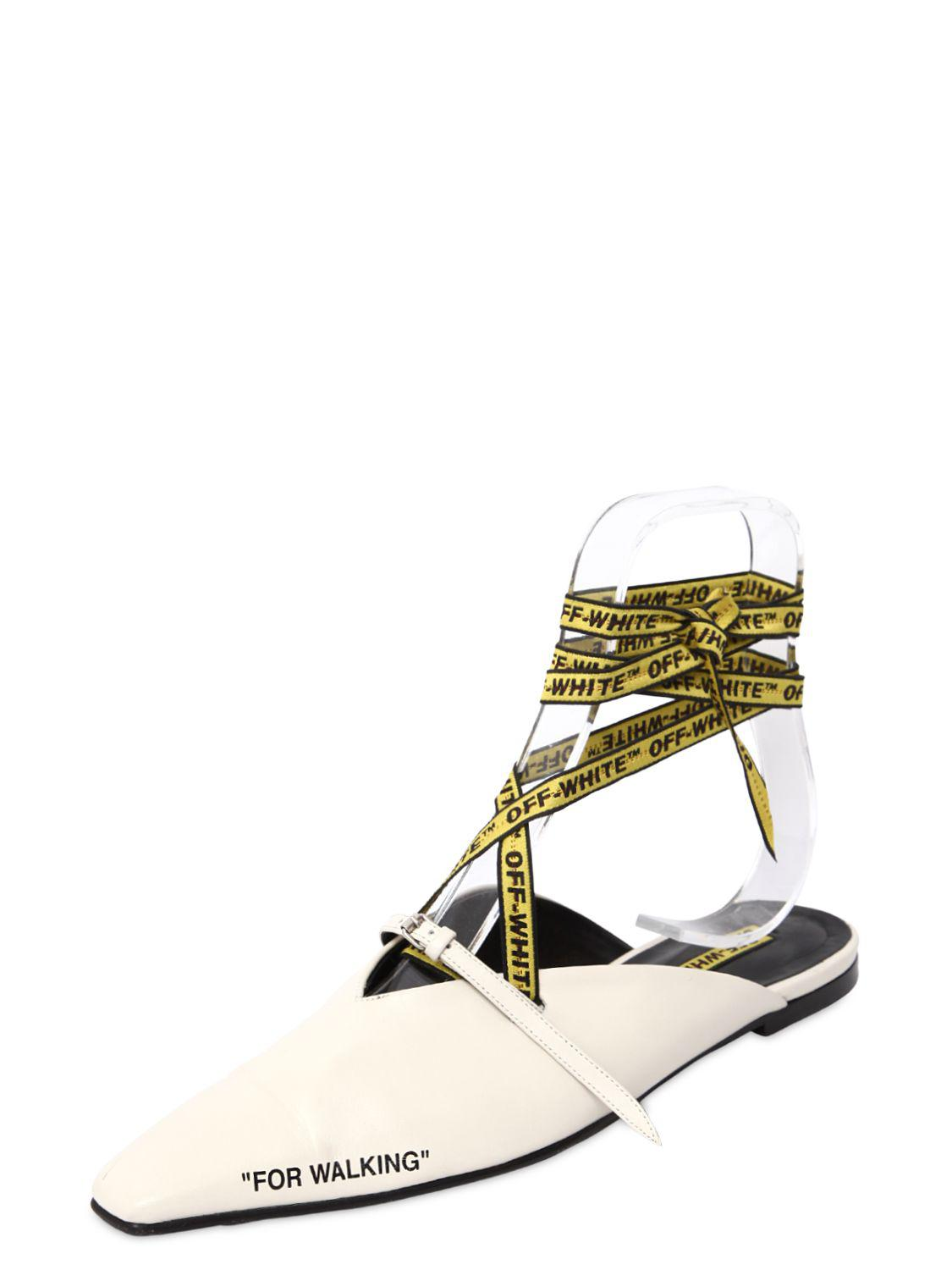 OFF-WHITE 10MM FOR WALKING LEATHER LACE-UP MULES B6kJ1oi
