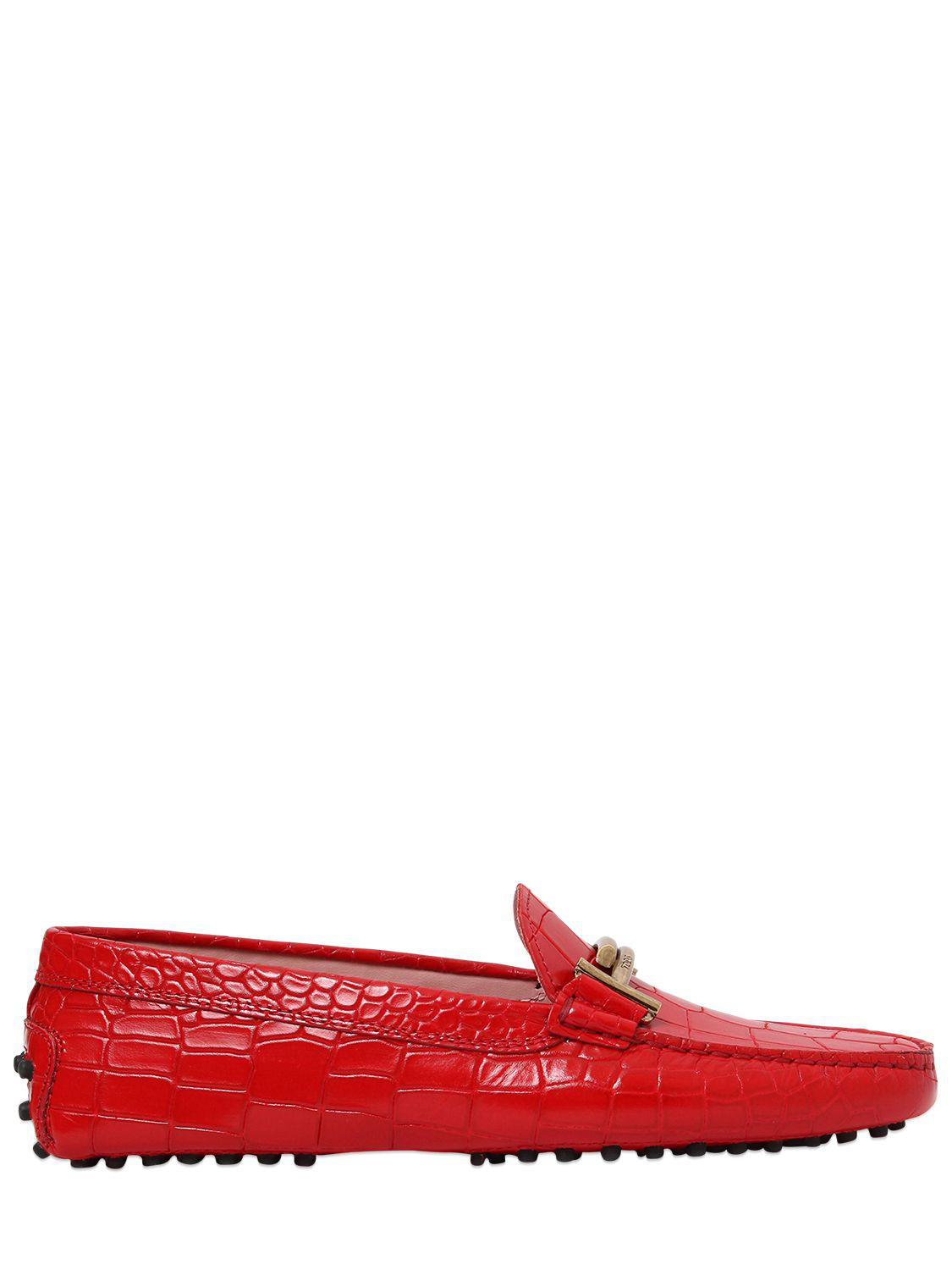Double T Gommino Printed Moccasins in Red Croc Print Calfskin Tod's UshSjigIw3