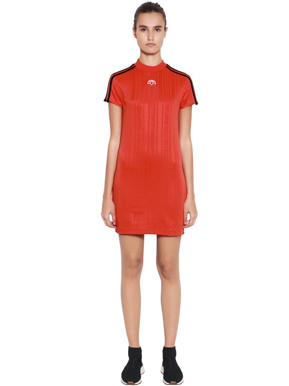 aba28f3882e Lyst - Alexander Wang Aw Logo Jacquard Track Mini Dress in Orange