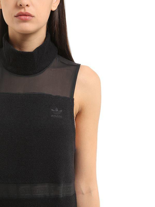 48ea78dd418 adidas Originals Stretch French Terry Turtleneck Dress in Black - Lyst