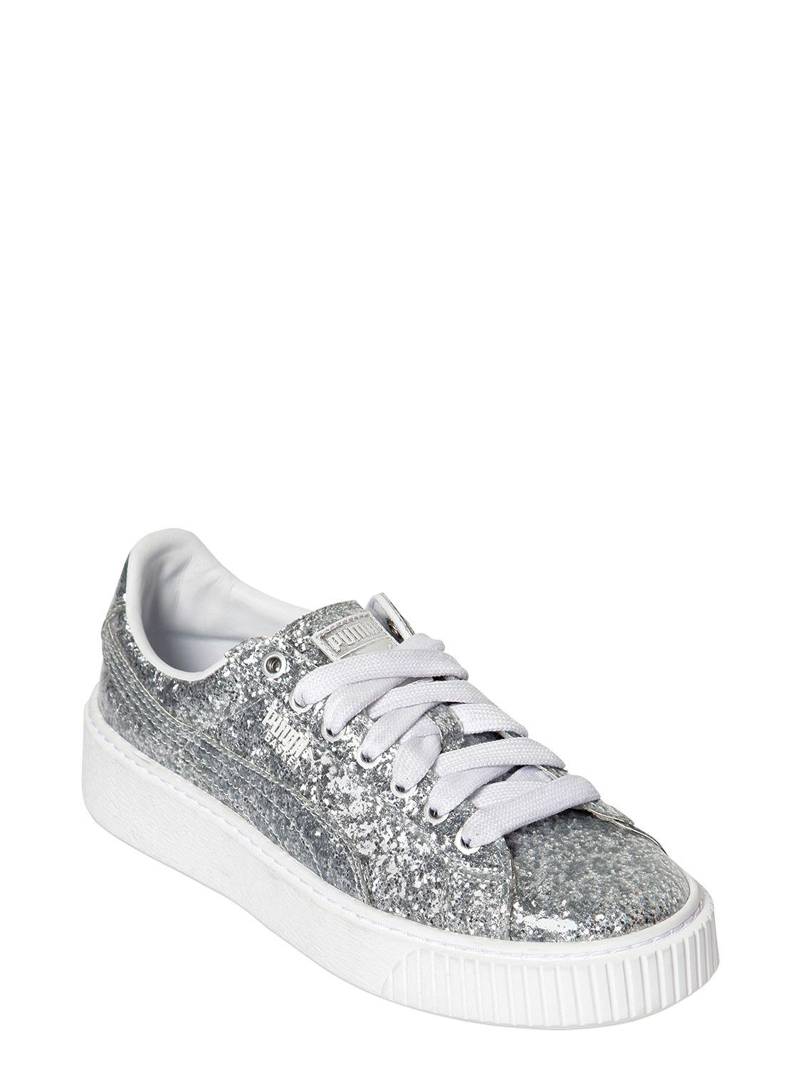 932d45ea4b76a8 Puma select Basket Platform Glitter Trainers in Metallic