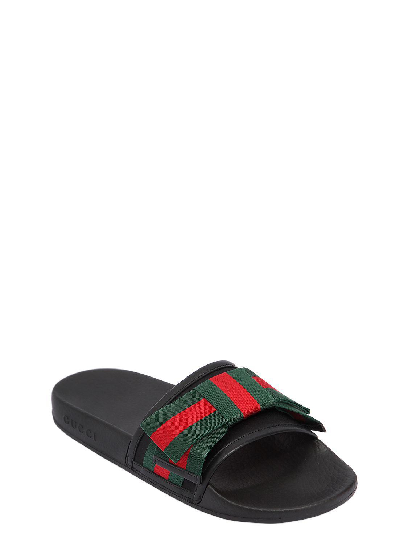 8b0d785972c Lyst - Gucci 10mm Pursuit Web Bow Satin Slide Flats in Black for Men