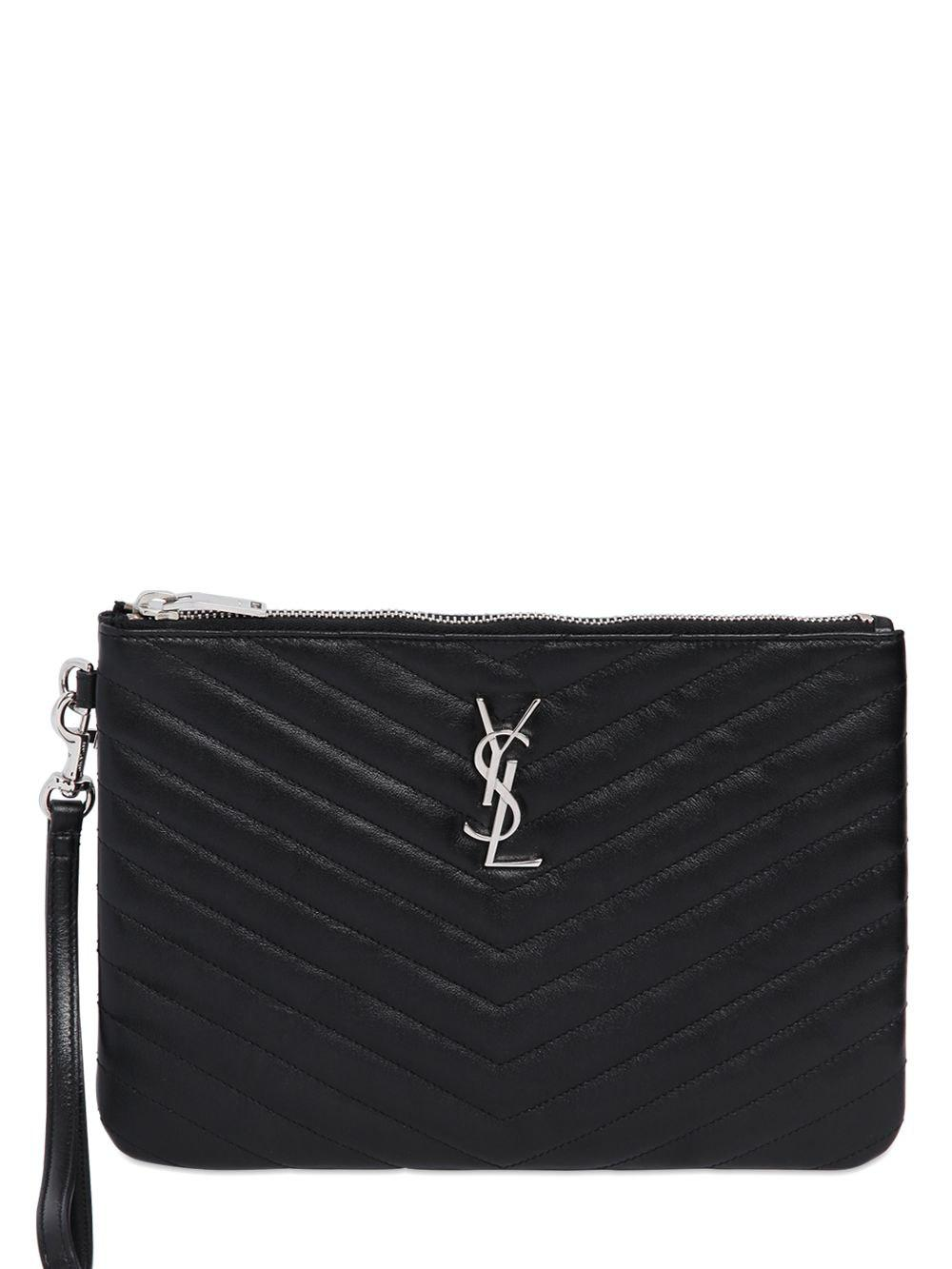 0f6d99c68b Lyst - Saint Laurent Quilted Monogram Leather Pouch in Black