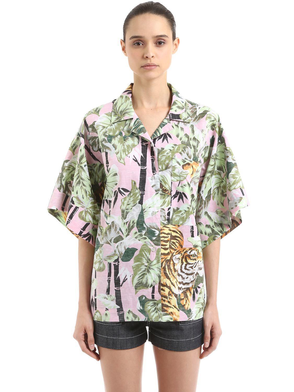 02e86e34a KENZO Reversible Tiger Hawaiian Cotton Shirt in Green - Lyst