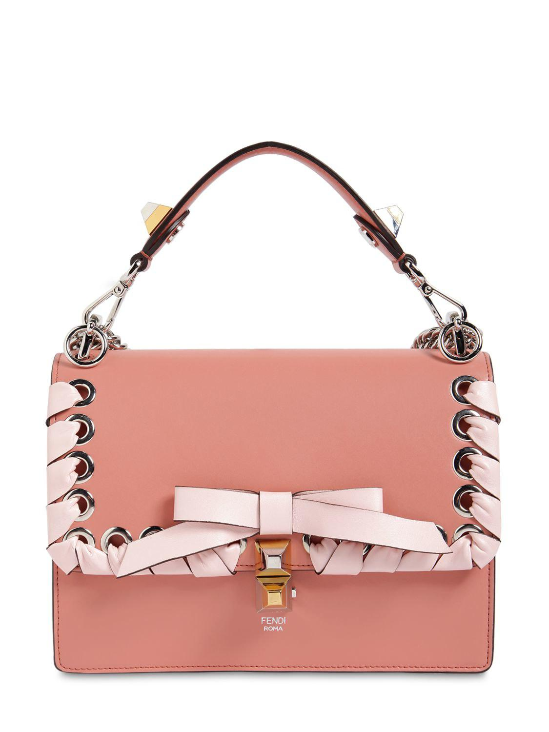 63beabd1e4a0 Lyst - Fendi Medium Kan I Lace-up Leather Bag in Pink