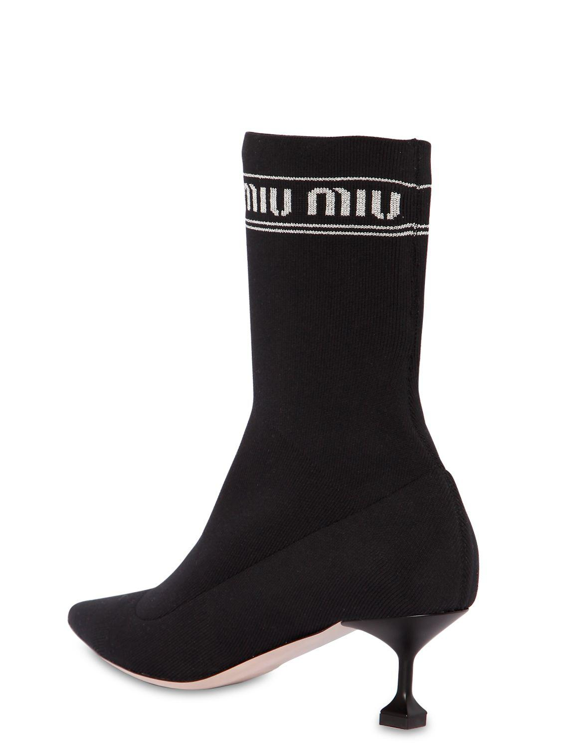Miu Miu 55MM LOGO KNIT SOCK ANKLE BOOTS U53CE