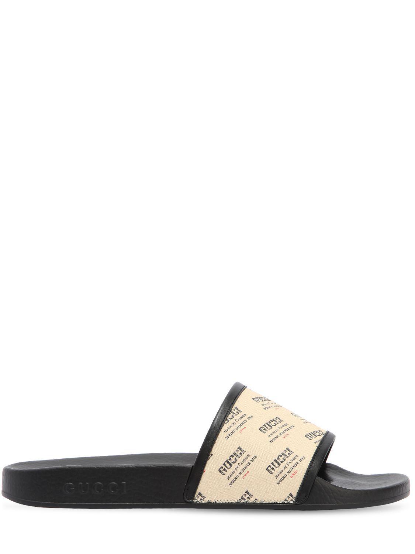 9590ebc886ce Gucci - Multicolor Pursuite Logo Print Rubber Slide Sandals - Lyst. View  fullscreen