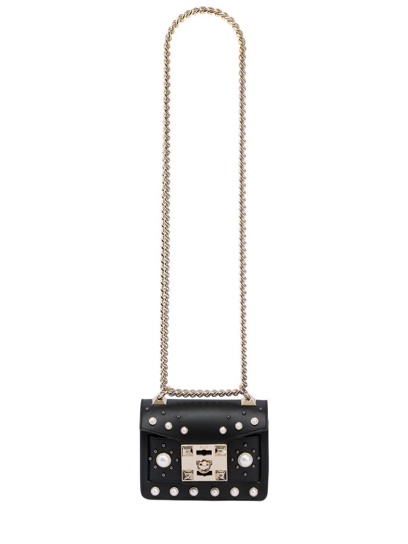 Lyst - Salar Gaia Faux Pearls Leather Shoulder Bag in Black a6f34c819b3