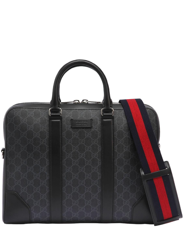 8540e92e3117 Gucci Slim Gg Supreme Logo Briefcase in Black for Men - Lyst