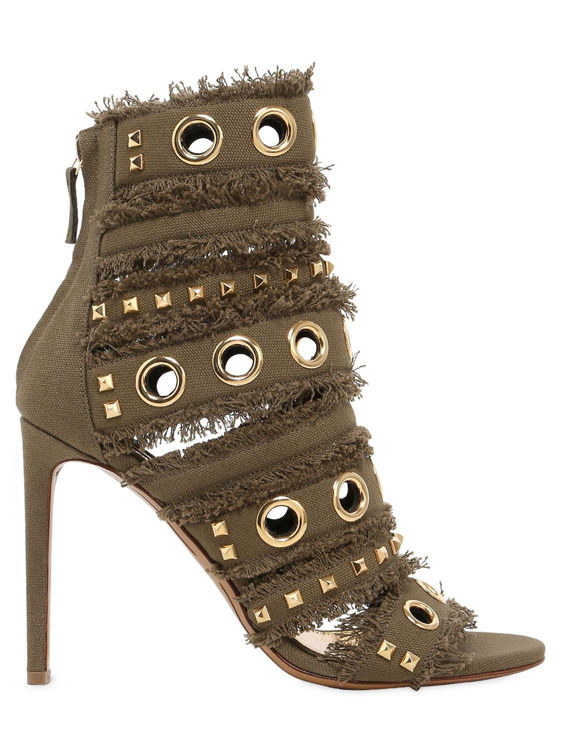 6e2c4f997 Lyst - Alexandre Vauthier 100mm Studs   Fringe Canvas Sandals in Green
