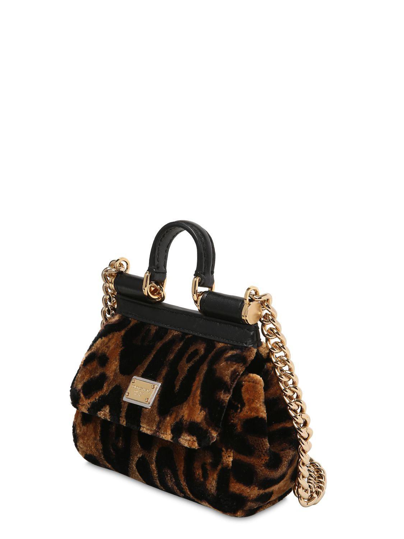 4d875f56e05e Dolce   Gabbana - Black Micro Sicily Leopard Print Velvet Bag - Lyst. View  fullscreen
