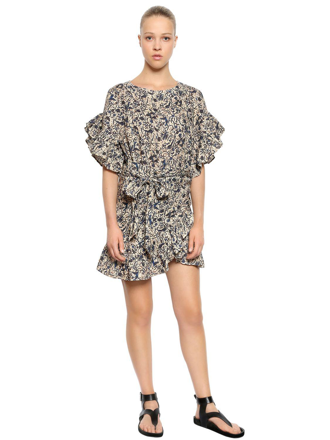 167db480c8d Étoile Isabel Marant Printed Linen Ruffled Dress in Natural - Lyst